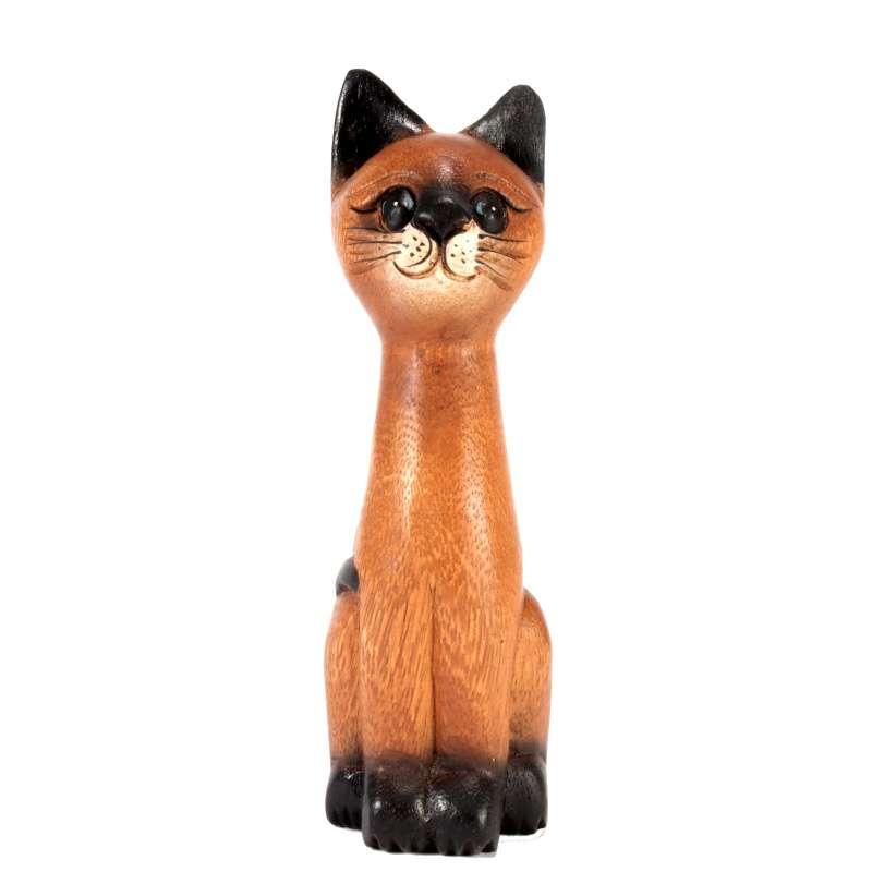 Soška Kočka dřevo kuželka 20 cm