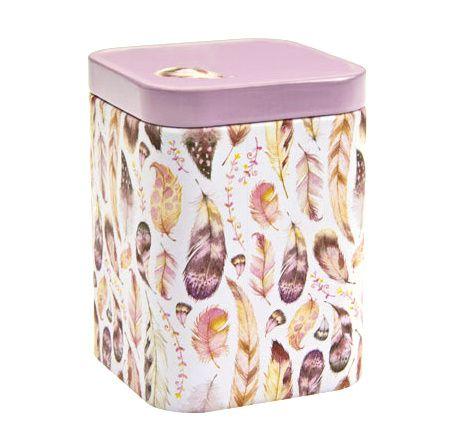 Dóza na čaj Peříčka 100 g růžová plech Oxalis
