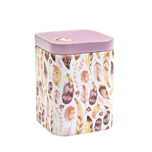 Dóza na čaj Peříčka 50 g růžová plech Oxalis