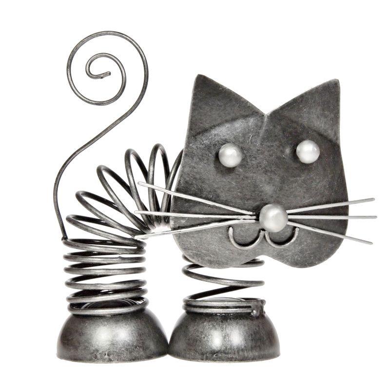 Soška Kočka kov pružina 11 cm