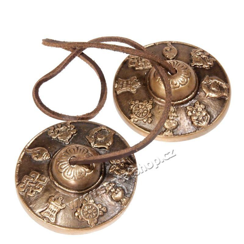 Tibetské činely kartálky ting-sha 7 cm symboly Indie