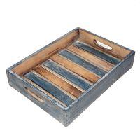 Čajový podnos modrý dřevo 35 cm
