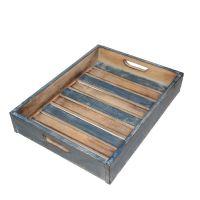 Čajový podnos modrý dřevo 39 cm
