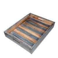 Čajový podnos modrý dřevo 42 cm