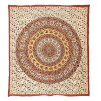Přehoz Mandala červeno-šedý 225 x 200 cm