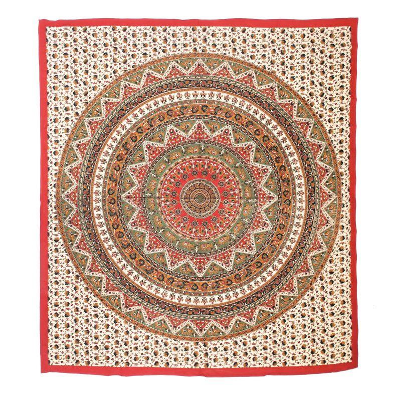 Přehoz na postel Mandala červeno-zelený 225 x 200 cm Indie