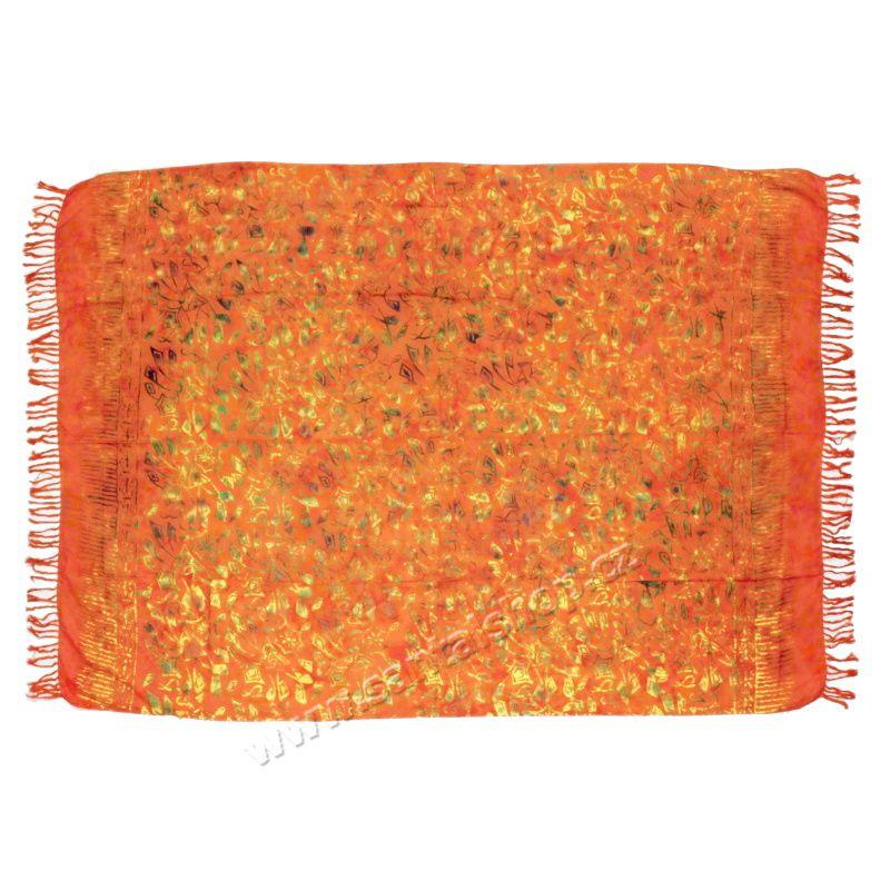 Šátek sarong, pareo Kytky oranžový