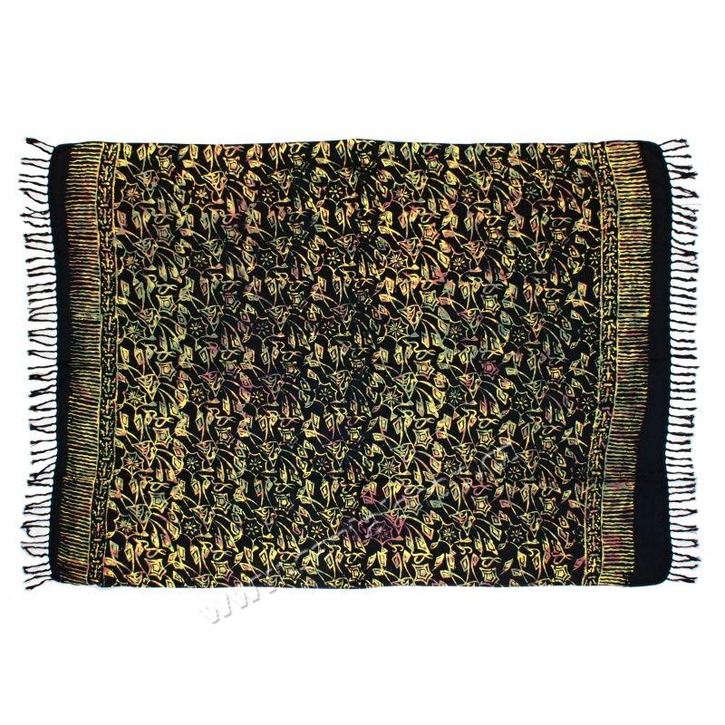 Šátek sarong, pareo Kytky černý