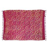 Plážový šátek sarong, pareo Kytky vínový