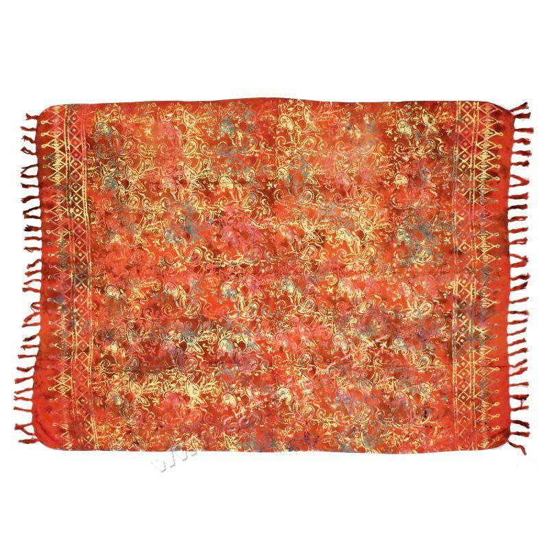 Plážový šátek sarong, pareo Paisley červený
