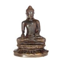 Soška Buddha kov 17 cm tmavý