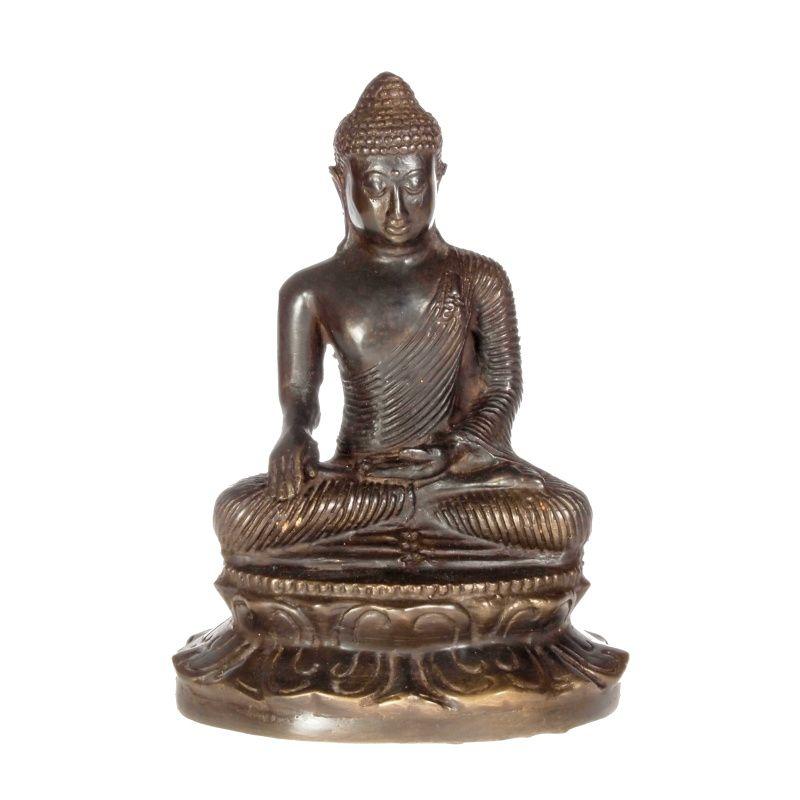 Soška Buddha kov 17 cm tmavý Indonesie