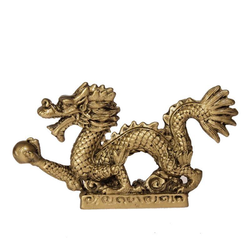 Soška Drak resin 13 cm zlatý Čína