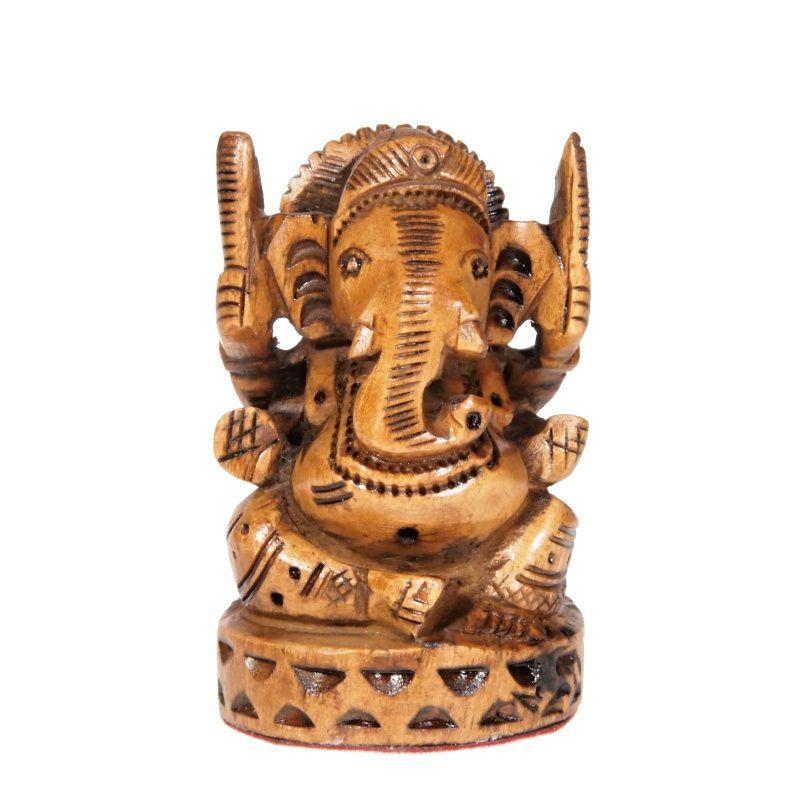 Soška Ganéša (Ganesh) dřevo 07 cm s čelenkou Indie