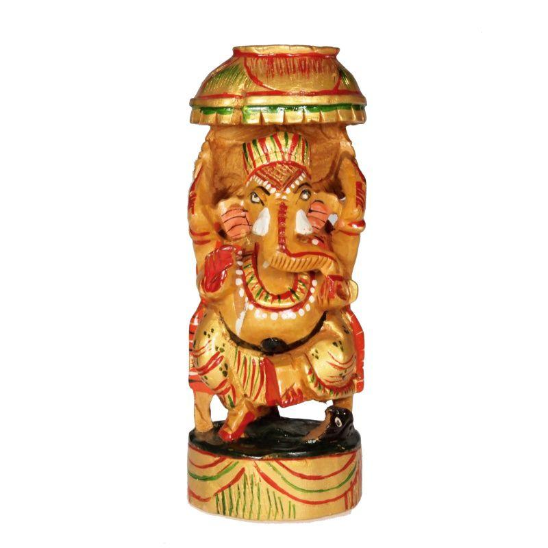 Soška Ganéša (Ganesh) dřevo 16 cm color Indie