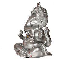 Soška Ganéša (Ganesh) resin 16 cm stříbrný Čína