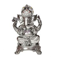 Soška Ganesh resin 18 cm stříbrný