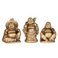 Soška Hotei smějící se buddha resin 05 cm sada 6 ks zlatý Čína
