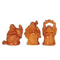 Soška Hotei smějící se buddha resin 05 cm sada 6 ks hnědý Čína