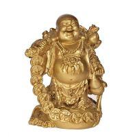Soška Hotei smějící se buddha resin 17 cm s mincemi Čína