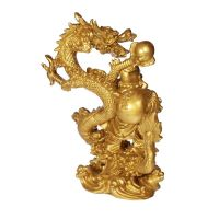 Soška Hotei smějící se buddha resin 25 cm s drakem Čína