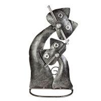 Soška Kočka kov s kotětem 22 cm Indonesie