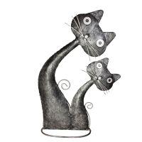 Soška Kočka kov s kotětem 41 cm