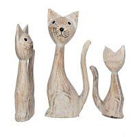 Soška Kočky dřevo 23 cm sada 3 ks bílé