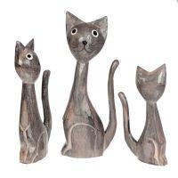 Soška Kočky dřevo šedé 23 cm sada 3 ks Indonesie