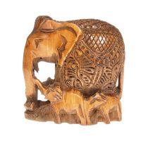 Soška Slon dřevo 10 cm se slůňaty tmavý