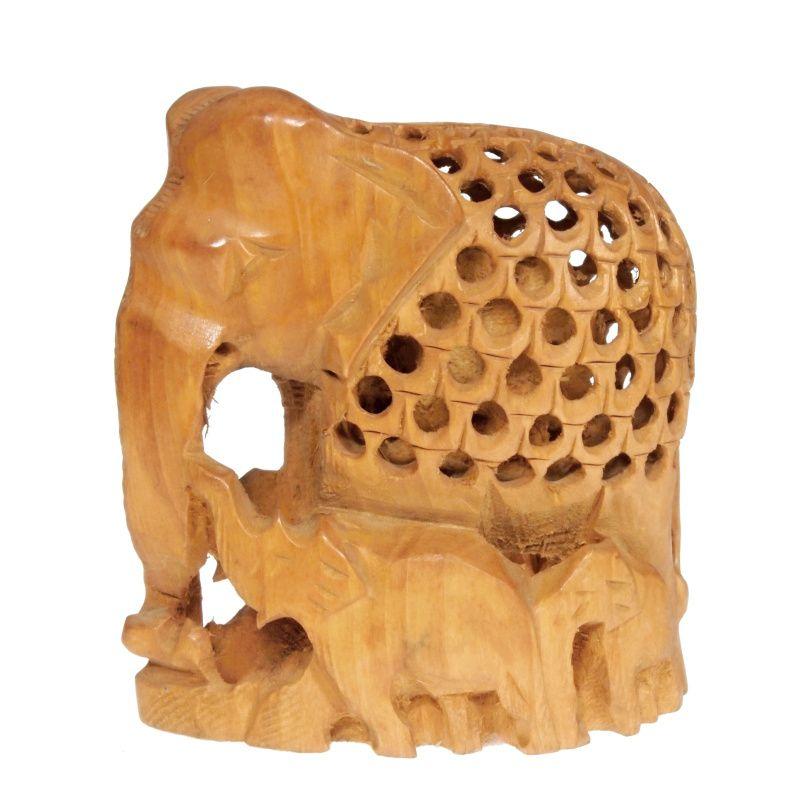 Soška Slon dřevo 10 cm se slůňaty prořezávaný
