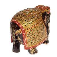 Soška Slon dřevo 13 cm color Indie