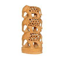 Soška Sloni dřevo 16 cm sloup prořez