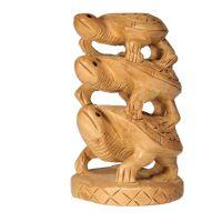Soška Želvy dřevo 10 cm sloup Indie