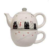 Čajová souprava Kočky sváteční - tea for one