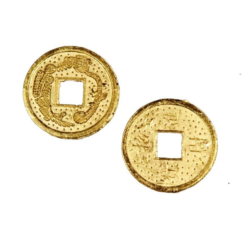 Čínská mince 19 mm zlatá - talisman bohatství Čína