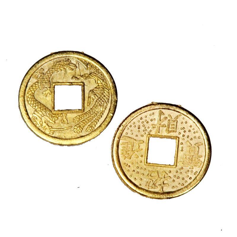 Čínská mince 25 mm zlatá talisman bohatství