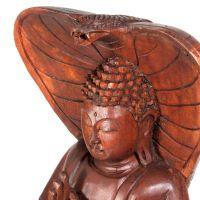 Soška Buddha dřevo 40 cm s kobrou Indonesie