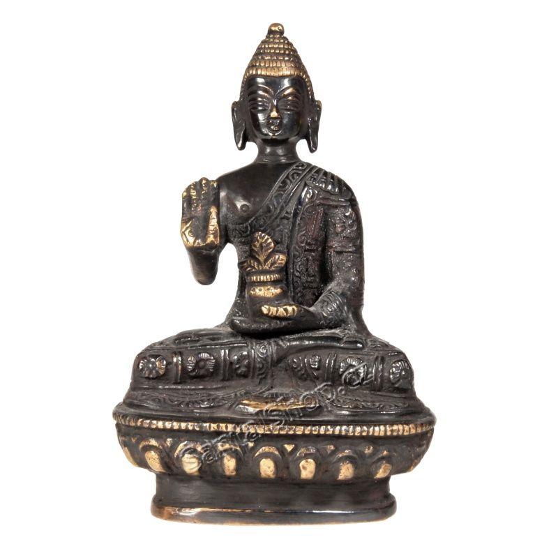 Soška Buddha kov 13 cm tmavý Indie