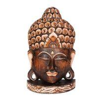 Soška Buddhova hlava dřevo 33 cm