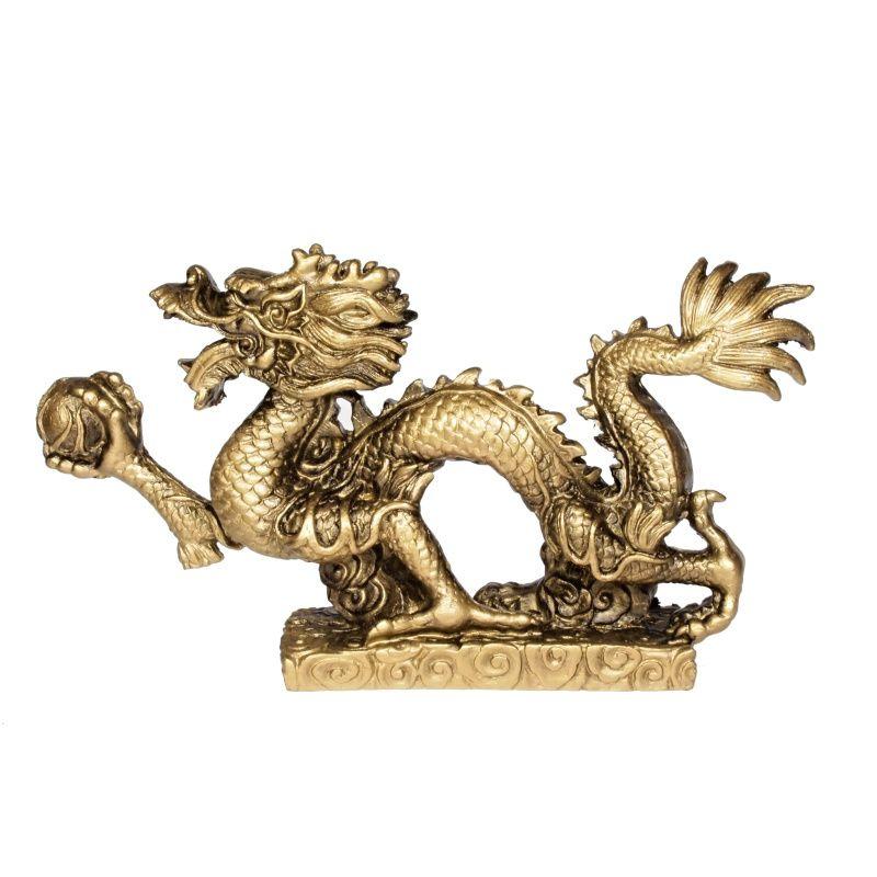 Soška Drak resin 22 cm zlatý Čína