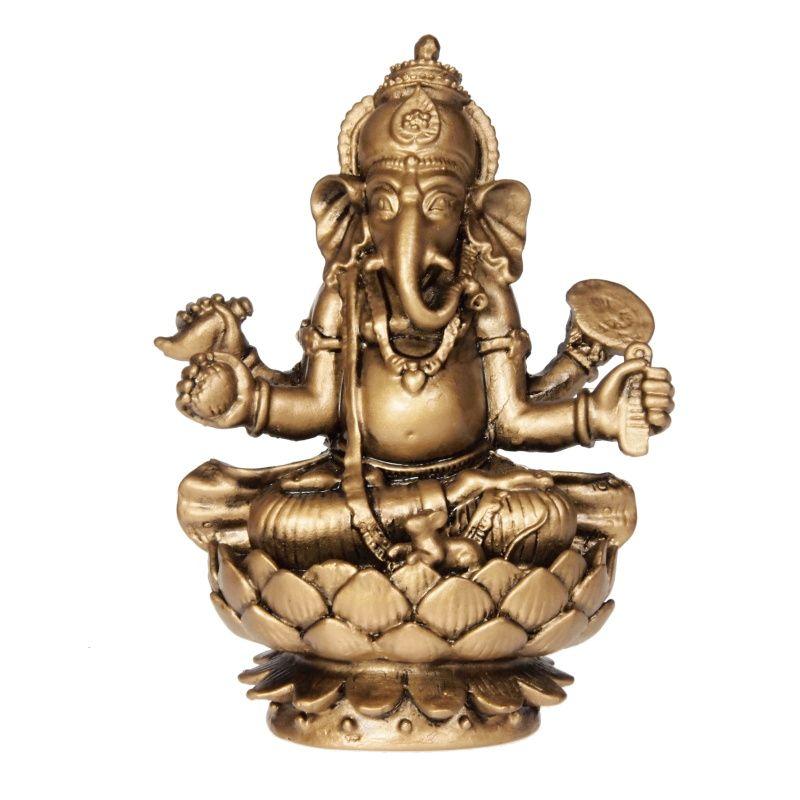 Soška Ganéša (Ganesh) resin 10 cm zlatý Čína