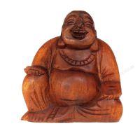 Soška Hotei smějící se buddha dřevo 13 cm