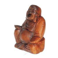Soška Hotei smějící se buddha dřevo 13 cm Indonesie