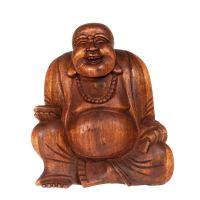 Soška Hotei smějící se buddha dřevo 16 cm