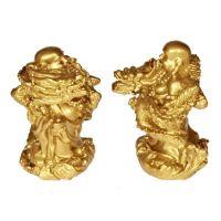 Soška Hotei smějící se buddha resin 06 cm sada 4 ks