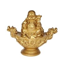 Soška Hotei smějící se buddha resin 10 cm na ingotu II