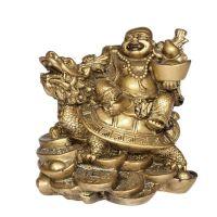 Soška Hotei smějící se buddha resin 11 cm na želvě