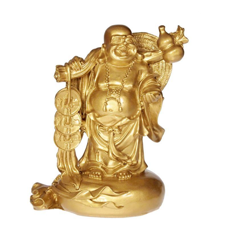 Soška Hotei smějící se buddha resin 16 cm s mincemi Čína