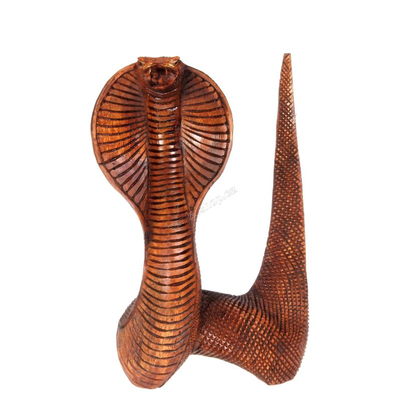Soška Kobra dřevo 22 cm s ocasem L Indonesie